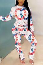 Casual Sporty Pop Art Print Long Sleeve Round Neck Tee Top Long Pants Sets SXS6021