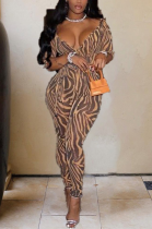 Night Out Sexy Leopard Long Sleeve Deep V Neck Bodycon Jumpsuit ZZS8310