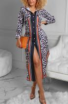 Casual Leopard Long Sleeve Lapel Neck Buttoned Cardigan Long Dress YFS3630
