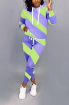 Casual Long Sleeve Contrast Binding Waist Tie Tee Top Mid Waist Long Pants Sets OX3007