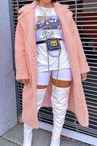 Womenswear Winter Simplee Upset Loose Long Sleeve Lapel Neck Villi Coat AA5213