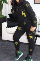 Fashion Casual Sport Christmas Gold Deer Snow Pattern Two-Piece LSN783