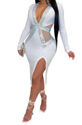 V Neck Open Fork Sexy Long Sleeve High Waist Dress YF8820