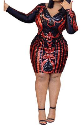 Big Size Red Sequin Long Sleeve V Neck Dress YF1354