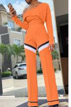 Casual Tight Womenswear Lotus Leaf One Shoulder Spliced Two-Piece KNN80002
