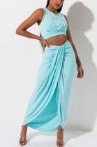 Sexy Sleeveless Shirred Detail Tank Top Slit Skirt Sets SH7118