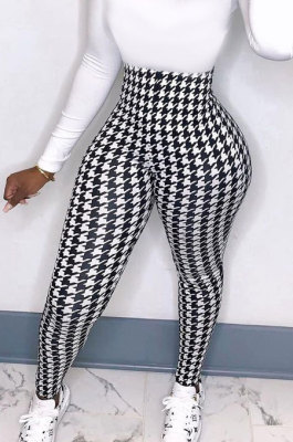 Womenswear High Elastic High Waist Printing Tight Long Pants BLE2213