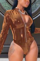 Sexy Pu Leather Long Sleeve V Neck High Bounce Bodysuit QZ3313