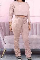 Fashion Casual Womenswear Ruffle Sport Heaps Of Pants Fleece Terry Have a Pocket Two-Piece MDF5192