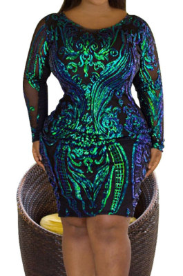 Sequin Big Size Long Sleeve Round Neck Dress YF1367