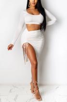 Sexy Long Sleeve Scoop Neck Ruffle Short Skirt Sets XZ3761