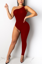 Modest Sexy Sleeveless Off Shoulder Asymmertrical Neck Bodycon Jumpsuit SH7123