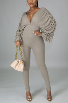 Casual Polyester Long Sleeve V Neck Bat Sleeves Bodycon Jumpsuit E8545