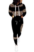 Casual Simplee Leopard Long Sleeve Hoodie Long Pants Sets LD8626