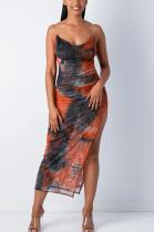 Sexy Tie Dye Sleeveless Scoop Neck Slip Dress SH7136