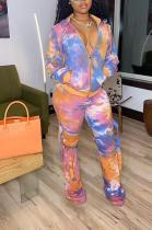 Orange Sporty Polyester Tie Dye Long Sleeve V Neck Long Pants Sets YZM7129