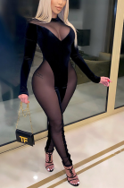 Sexy Polyester Long Sleeve Round Neck Spliced Bodycon Jumpsuit CCY8828