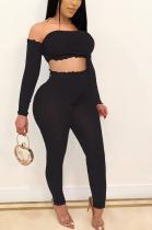 Sexy Long Sleeve Off Shoulder Bandeau Bra Long Pants Sets SH7163