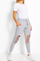 Casual Sporty Waist Tie Ripped Mid Waist Long Pants LD8569