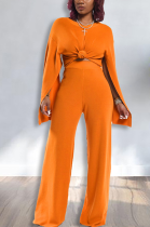 Casual Simplee Long Sleeve Round Neck Wide Leg Pants Sets HM5278