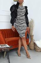 Sexy Polyester Leopard Long Sleeve Spliced Puff Sleeve Mid Waist Long Dress WY6680