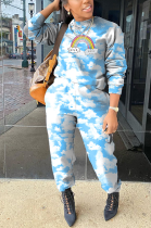 Casual Simplee Tie Dye Cartoon Graphic Long Sleeve Round Neck Long Pants Sets HM5415