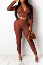 Casual Polyester Long Sleeve V Neck Tee Top Mid Waist Long Pants Sets YYZ525