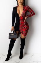 Sexy Polyester Long Sleeve V Neck Spliced Hollow Out Ruffle Mid Waist Long Dress D8409
