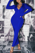 Sexy Pure Color Long Sleeve Deep V Neck Long Dress AL147