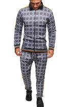 Casual Sets Man Long Sleeve Zipper Fashion Plaid Two-Piece FT03