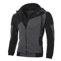 Fashion Color Matching Jacket Casual Brushed Loose Hooded Double Zipper Long Sleeve Coat FT702