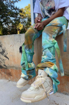 Fashion Casual Polyester Tie Dye Self Belted Mid Waist Long Pants LYL188