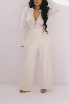 Casual Long Sleeve Lapel Neck Rib-Knit Tee Top Long Pants Wide Leg Pants Sets LYL171