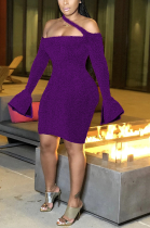 Sexy Long Sleeve Off Shoulder Notched Neck Midi Dress R6364