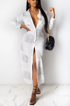 Casual Simplee Camo Long Sleeve Lapel Neck Long Dress R6383