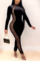 Night Out Sexy Mesh Long Sleeve Round Neck Hollow Out Bodycon Jumpsuit AL146
