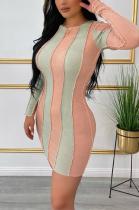 Sexy Long Sleeve Round Neck Spliced Mini Dress ML7407