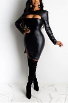 Sexy Pu Leather Long Sleeve Round Neck Split Hem Mid Waist Long Dress KK8181