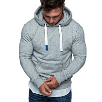 Man Hooded Fleece Brushed Pure Color Hoodies FT55