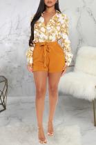 Sexy Pop Art Print Long Sleeve Mid Waist Mini Dress Shirt Dress SMR9894