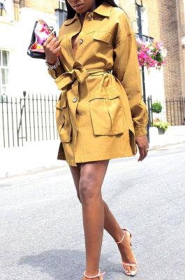 Womenswear Buttons Bindeed Pure Color Loose Casual Dress LA3128