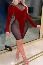Sexy Fashion Autumn Winter Long Sleeve Spliced Dress SH7238