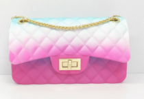 Newest Gradient Color Jelly Bag Chain One Shoulder Women Square Bags SL2881
