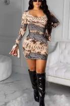 Sexy Polyester Pop Art Print Long Flare Sleeve Round Neck Mini Dress SMY8064