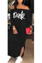 Street Style Letter Long Sleeve Off Shoulder Split Hem Mid Waist Long Dress D8336