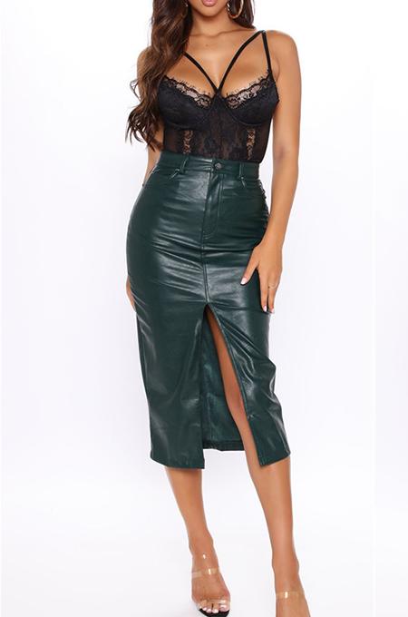 Sexy Pu Leather Buttoned Mid Waist Slit Skirt Midi Skirt LS6405
