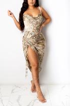 Sexy Camo Halterneck Cold Shoulder Pleated Mid Waist Slip Dress Long Dress L0334