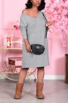 Casual Polyester Long Sleeve V Neck Off Shoulder High Waist Long Dress E8555