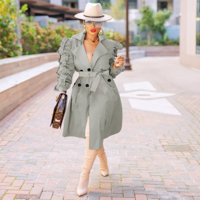 Fashion Long Trench Pure Color Long Sleeve Suit Collar Falbala Coat YYZ527
