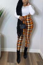 Casual Gingham Long Sleeve Round Neck Tee Top Overalls Long Pants Sets SY8753